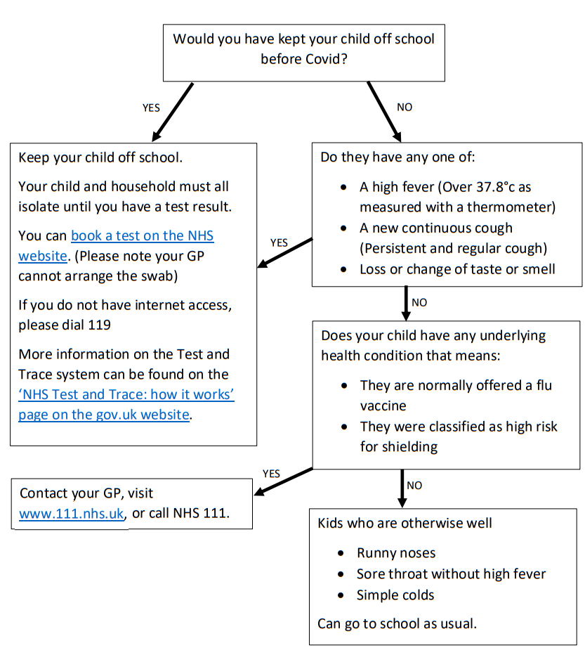 Flowchart advising when you should and should not send your child to school